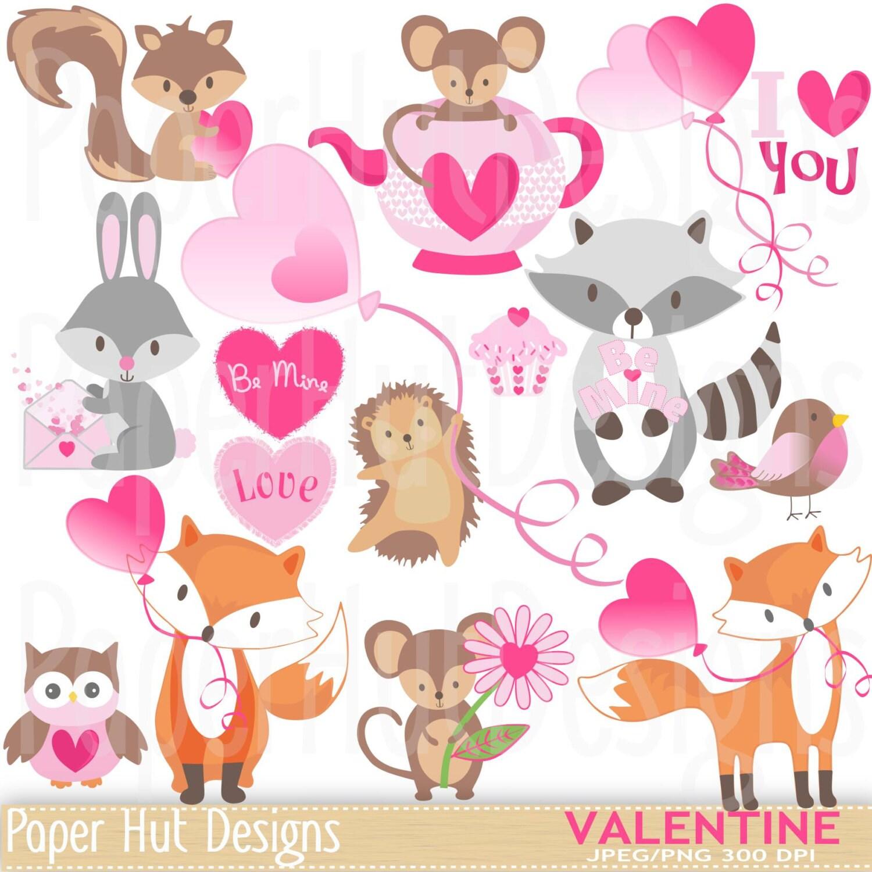valentine clipart cute valentine animal clip art rh etsy com cute valentine owl clipart Valentine Border Clip Art