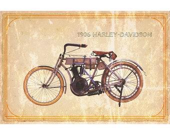 1906 Harley-Davidson Motorcycle print