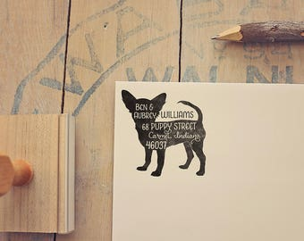 Short Haired Chihuahua Return Address Stamp, Housewarming & Dog Lover Gift, Personalized Rubber Stamp, Wood Handle