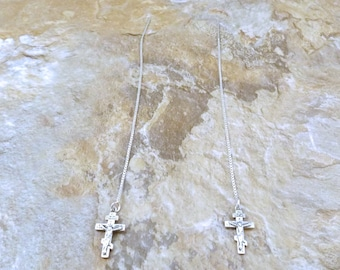 Sterling Silver Small Crucifix Charms on Sterling Silver Threader Earrings - 0097