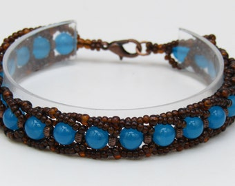 Quartz andf Seed Bead Flat Spiral bracelet