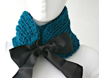 Hand Knit Teal Scarf Shawl / Neckwarmer / Christmas Gift for women / gift for her