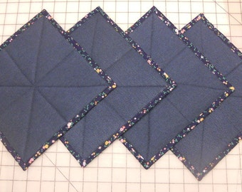 """Navy tapestry coaster, quilted fabric coaster, square coaster, 9"""" x 9"""" coaster, ready to ship"""