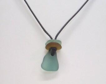 BOHO Surf Jewelry. Genuine Sea Glass Pendant. 3 Pieces Of Sea Glass On Black Leather Cord.