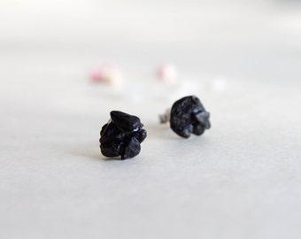 Black Stud earrings Black Tourmaline Studs -  Sterling silver studs