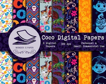 Coco Digital Papers - 8 Designs 12x12in, 30x30 cm - Ready to Print - High Quality