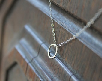 Monaco Celebrity Tiny Sterling Eternity Ring on Sterling Silver Chain Necklace - Minimal Minimalist Modern