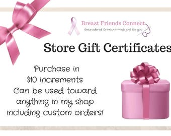 Gift Card, Gift, Present, Gift Certificate, Gift Certificate Printable, Gift Certificate Business, BreastFriendsConnect Store gift card