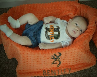Personalized camo blanket with matching onesie