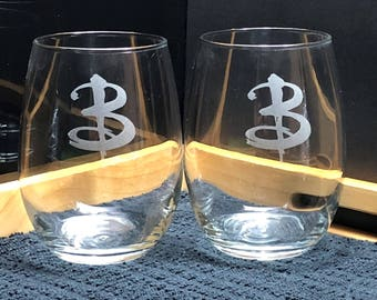 """Two Buffy the Vampire Slayer Inspired """"Buffy B"""" Logo Stemless Wine Glasses - Buffy Summers - Stemless Wine Glasses - Slayer Glasses"""
