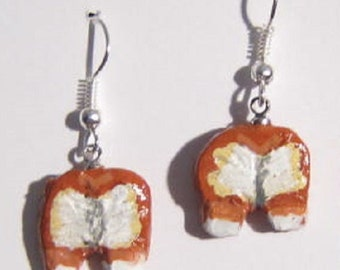 Hand-painted WELSH CORGI Bunny Butt Clay Earrings Red/White Corgi Rears