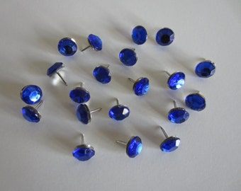 Blue Rhinestone Thumbtacks - Blue - Blue Accessories - Blue Push Pins - Handmade Thumbpins - Bling Pins - Cork Boards