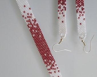 Pretty Pink & White Peyote Bracelet and Earring Set