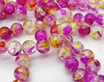 50 8 mm with hole 1 mm transparent hot pink, yellow, white cracked glass beads