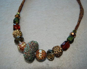 Free Shipping Crystal, Stones, seed beads, and other beads necklace.