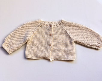Cardigan hand knitted 100% cotton infant between 3 and 6 months