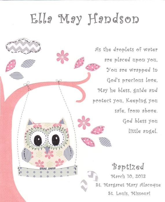 Baptism gift for baby girl christening gift for girls owl negle Images
