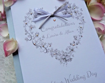 Handmade Personalised Wedding Card Floral Butterfly Heart