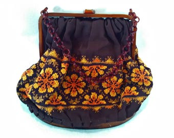 Vintage Handbag, Boho Purse, Brown Fabric & Faux Tortoise Shell Lucite, Cross Stitch Flowers, Hand Made, Mid Century, Circa 1960s
