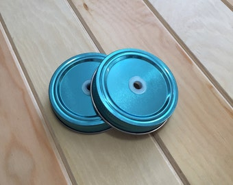 Mason Jar Colored lid with pre-cut hole