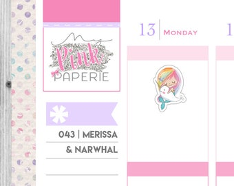 043 | Merissa & Narwhal | Mermaid Stickers