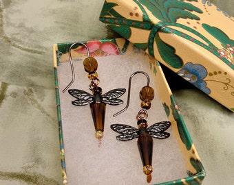Brown Dragonfly Earrings