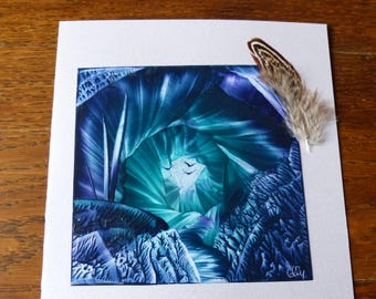 Map double blue and green vortex cave original Encaustic Painting