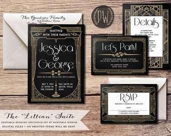 Art Deco Wedding Invitation Suite printable wedding invitation invite roaring twenties invitation 20's wedding invite PDF DIY Do it Yourself