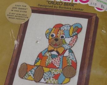 Vintage Sunset Designs Jiffy Stitchery Wool Yarn ~ Calico Bear ~ 1975