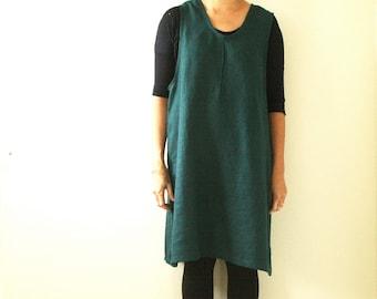 READY TO SHIP / linen dress / smock / turquoise (dark)