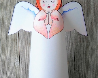 Paper Angel Printable Coloring Craft for Children PDF Part Favors Christian Sunday School Easter Instant Download Angel Pattern Personalized