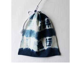 Drawstring bag, Pouch, Tie dye, Jewellery storage, Shibori, Toiletry storage, Organic, Blue, White, Bits and bobs, Natural dye, Make up bag