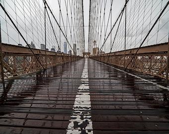 Rainy Day on the Brooklyn Bridge Rainy Day, Brooklyn Bridge Photography, Brooklyn Bridge Print, New York Photography, New York Print