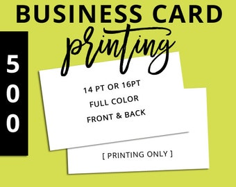 Silk business cards etsy printing business cards set of 500 full color front back 14pt reheart Gallery