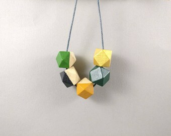 Geometric Necklace - Mustard, Green Gold | Statement Necklace | Gift for her | Geometric Jewellery | Tropical necklace | Gold necklace | Geo