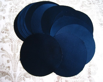 30 pcs 3 inches Hand cut Fabric Circles -  Navy - Silk Satin