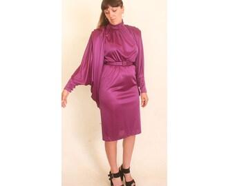 Vintage 1970s Disco Sleeveless Turtleneck Batwing Magenta JM 2 Calf Length Dress size 8