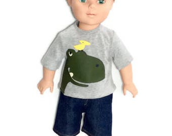 Gray Dinosaur T-shirt with Jean Shorts, 18 Inch Boy Doll Clothes, Screen Print Doll Shirt, Summer Doll Clothes, Ond of a Kind