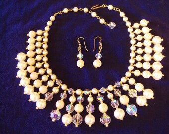 Handmade Sparkling Pearls Crystals Drippy Bib Fringed Bridal Choker Necklace and Matching Pierced Earrings