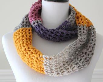 Crochet Circle Purple, Dark rose, Mustard, Gray Infinity Scarf Cowl