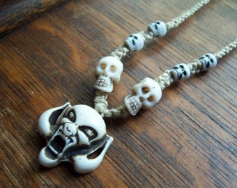 Unisex Skulls on Natural Hemp Necklace