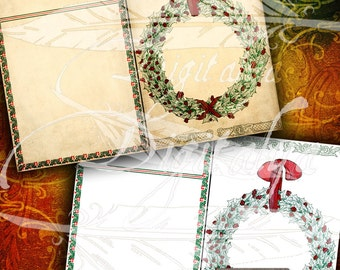 HOLIDAYS HOLLY 5x7 framed cards set #2 on stained paper for Christmas - 2 Digital Collage Sheets - Buy 3 Get 1 Extra Free - Instant download