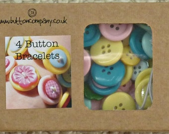 Button Bracelet Kit - The Button Company Jewellery Making Gift Easy Make Bracelets