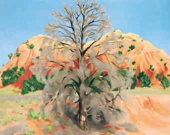 Georgia O'Keeffe Dead Tree with Pink Hill, 1945