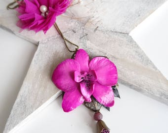 Fuchsia orchid flower necklace
