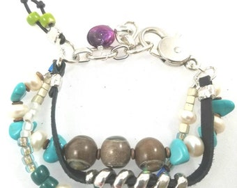 Unisex Multi Strand Pearl Leather Bracelet silver beads ceramic beads glass beads red beads turquoise beads copper beads lobster clasp chain