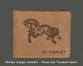 Engraved Leatherette Wallet -  Horse Designs 7