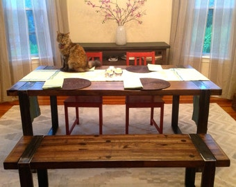 Industrial Dining Table - Reclaimed Oak