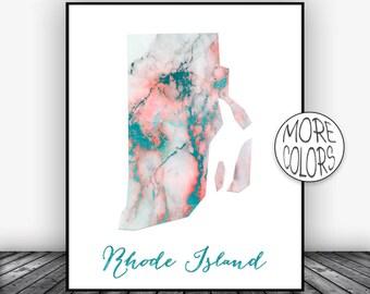 Rhode Island Art Rhode Island Print Rhode Island Map Art Map Print  Marble Decor Office Decor Office Poster ArtPrintsZoe