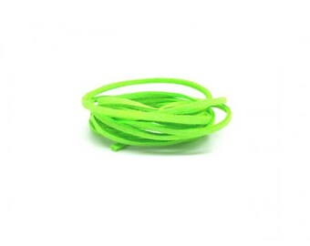 10 m green Neon fluorescent 3x1.5mm flat suede cord